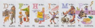 AUS 22/10/2019 Fair Dinkum Aussie Alphabet (Part 5) self-adhesive set of 6 from booklets (exSB673-8)